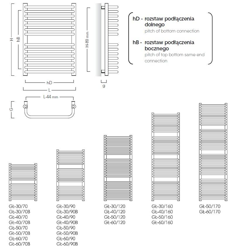 Grzejnik łazienkowy Instal Projekt Standard wymiary wielkości
