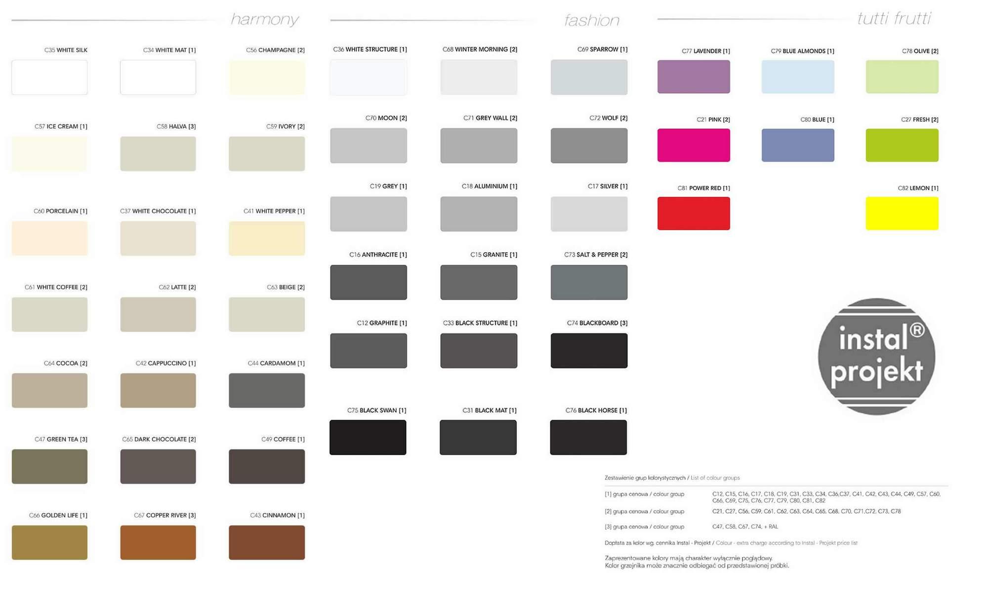 Pełna paleta barw grzejników Instal-Projekt zestawienie 3 grup