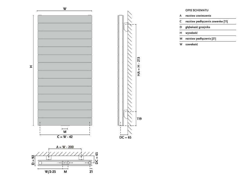 Grzejnik Gorgiel Altus VH2 - Rysunek techniczny i wymiary