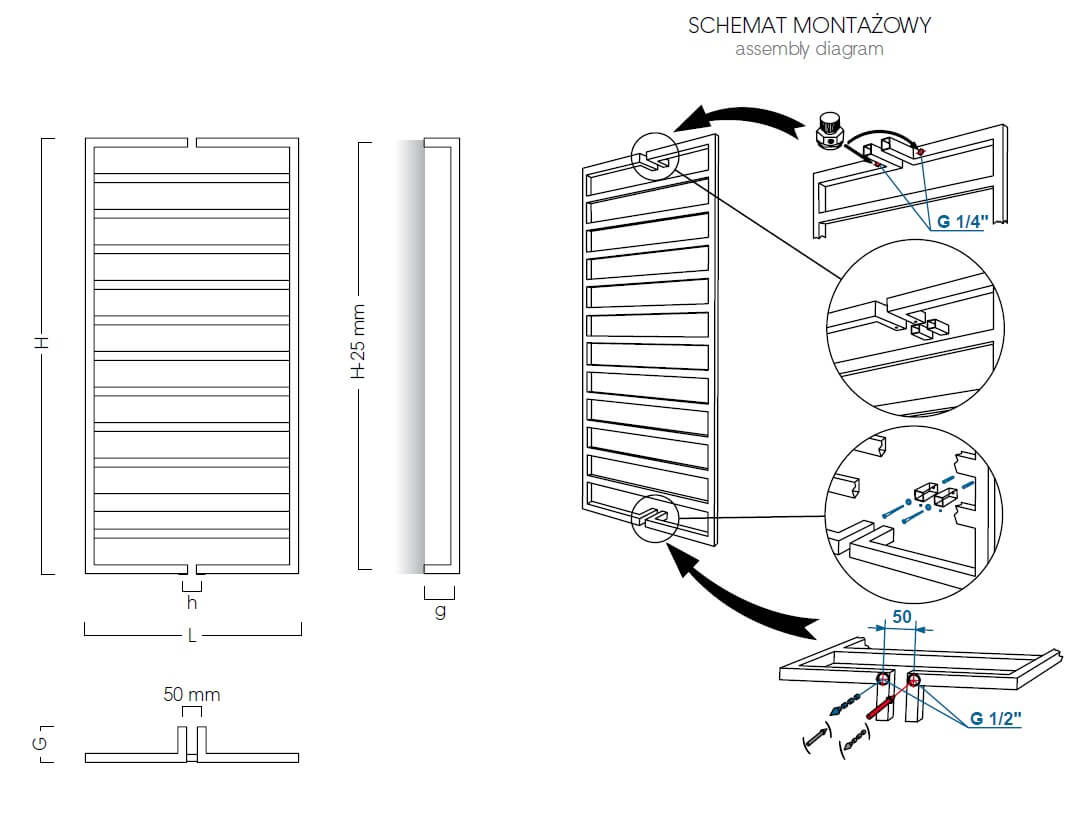 Schemat montażowy grzejnika Drada